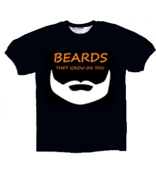 MEN'S BEARD NOVELTY T-SHIRT - GROW ON YOU - MEDIUM