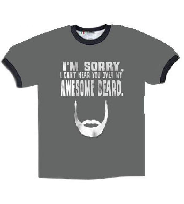 MEN'S BEARD NOVELTY T-SHIRT - AWESOME BEARD - LARGE