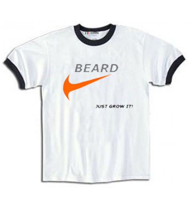 MEN'S BEARD NOVELTY T-SHIRT - BEARD JUST GROW IT! - MEDIUM