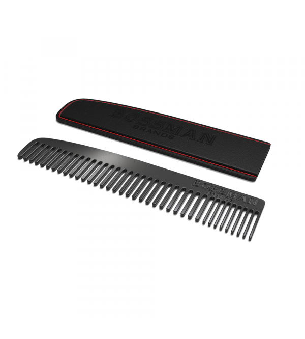 Bossman Brands Metal Beard & Moustache Comb with Leather Sleeve