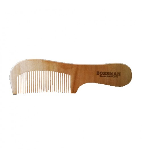 Bossman Pear Wood Comb w/ Handle