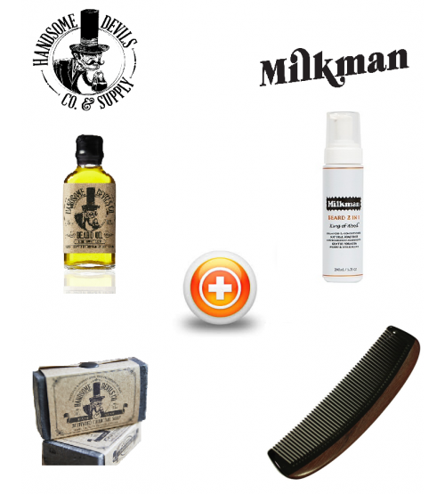Handsome Devill's (The Rustler) & Milkman Beard Care Gift Set